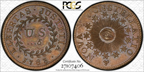 The unique copper 1783 Nova Constellatio 5 Units, graded PCGS PR66BN.  (Photo courtesy of PCGS.)
