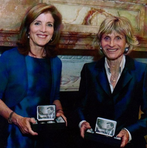 Caroline Kennedy-Schlossberg and Jean Kennedy-Smith pose with the newly presented fisrst and second strikes of the gold & silver coins during their official dinner hosted by the President of Ireland. (Compliments of the Central Bank of Ireland)