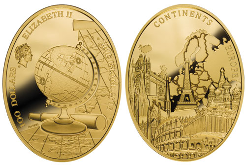 Continents Europe Gold Coin