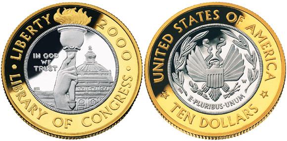Library of Congress Bimetallic Coin