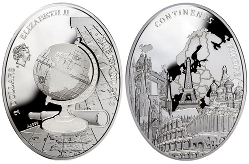 Continents Europe Silver Coin