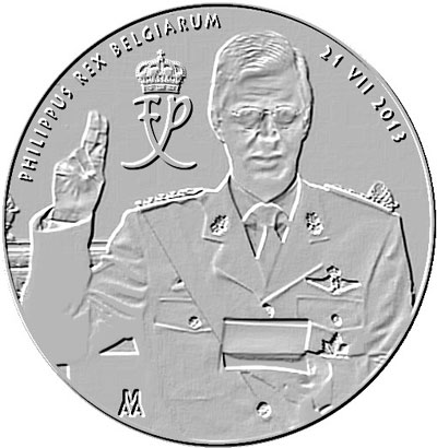 suggested / simulated design for upcoming commemorative Belgian accession coins