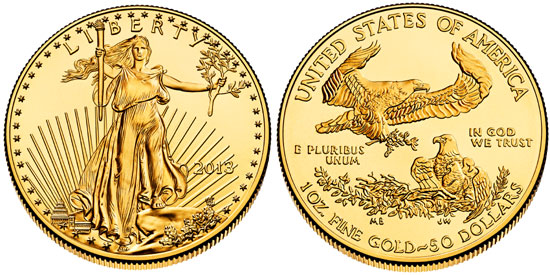 "1 oz American Gold Eagle with ""50 Dollars"" denomination"