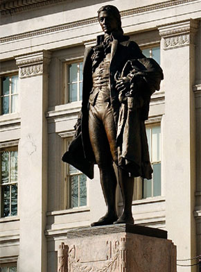 Statue of Alexander Hamilton by James Earle Fraser in front of the United States Treasury Building in Washington, DC.