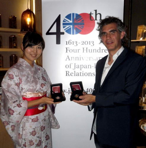 "Designer Matt Bonaccorsi is on hand during launch and presentation of ""Japan 400"" commemorative coins"