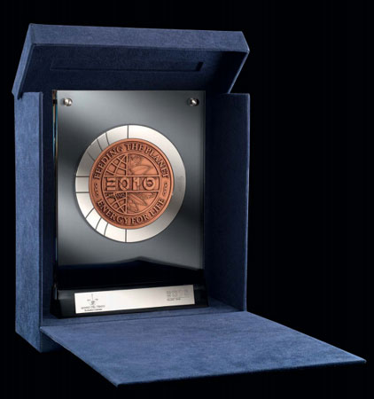 """Super-sized"" EXPO 2015 Milano coin shown in perspex frame and presentation case. A nickel nameplate is included on the frame for personalisation."