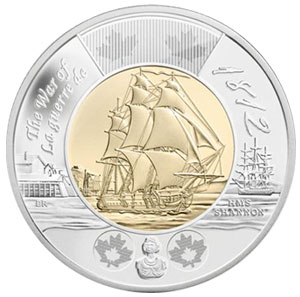 "2012 200th Anniversary of the War of 1812 ""HMS Shannon"" $2 Coin"