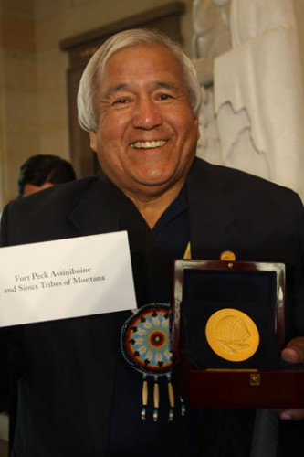Dr. Ken Ryan, the cultural historian of the Fort Peck Assiniboine Tribe of Montana, accepted the Code Talker Congressional Gold Medal on behalf of the tribe.