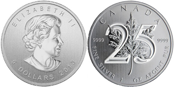 2013 Silver Maple Leaf 25th Anniversary Coin