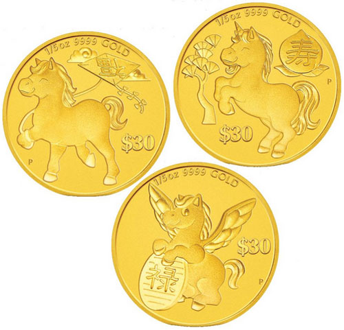 Year of the horse gold coins