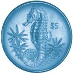 British Virgin Islands Seahorse Coins in Turquoise Titanium