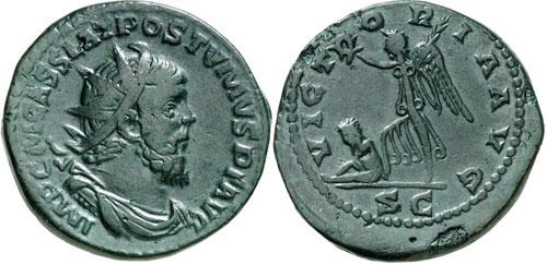 Roman Coins. Postumus, 259-269. Double sestertius, 261, Trier. Extremely rare. Very fine. Estimate: 250 euros.