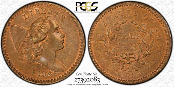The 1794 Liberty Cap With Pole half cent, graded PCGS MS67 R&B in the Missouri Cabinet Collection, sold for a record $1,150,000.  (PCGS TrueView image.)