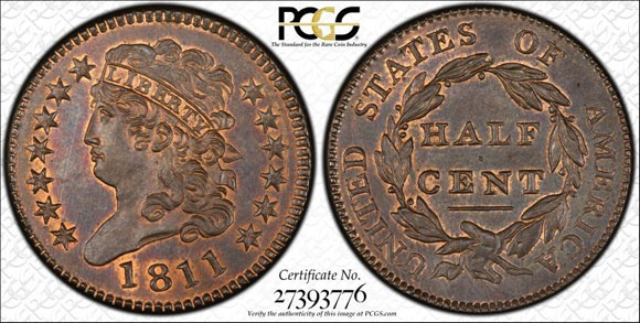 The 1811 Classic Head, graded PCGS MS66RB, in the Missouri Cabinet Collection brought $1,121,250.  (PCGS TrueView image.)