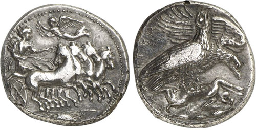 Akragas (Sicily). Tetradrachm, c. 420 B. C. Ex Friedinger-Pranter Coll. Very rare. Very fine to extremely fine. Estimate: 15,000 euros.