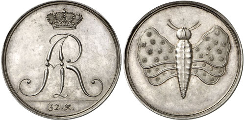Germany / Saxony. Frederick August I, 1694-1733. Schmetterlingsthaler n. d. Extremely rare. About FDC. Estimate: 25,000 euros.