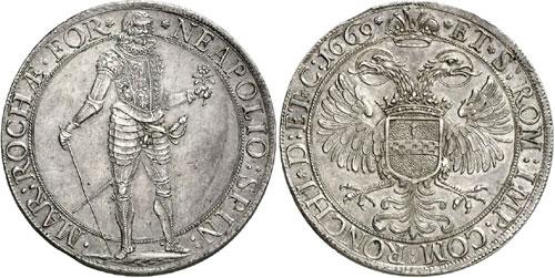 Italy / Ronco. Napoleone Spinola, 1647-1672. Scudo (spadino) 1669. Extremely rare. About FDC. Estimate: 30,000 euros.