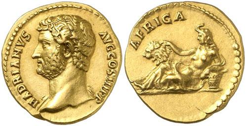 Roman Coins. Hadrian, 117-138. Aureus, 134-138. Rev. AFRICA. Good extremely fine. Estimate: 25,000 Euro.