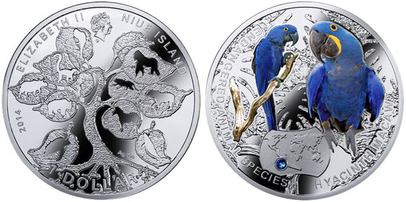 Hyacinth Macaw Endangered Species Silver Coin