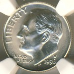 1996-W Roosevelt Dime Celebrated 50th Anniversary