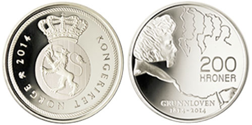 2014 Norway Constitution Coin