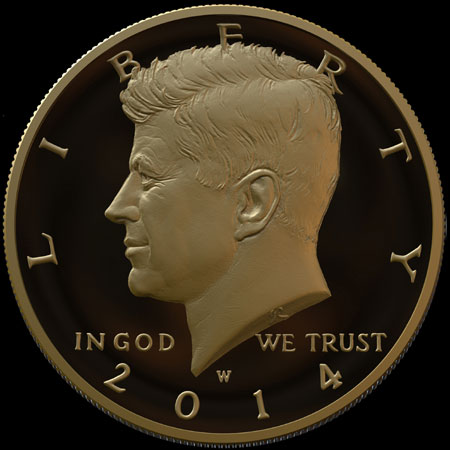 24 Karat Gold Kennedy Half Dollar