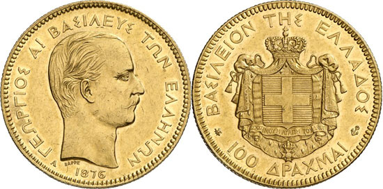 Greece. George I, 1863-1913. 100 drachmae 1876, Paris. Mintage only 76 specs. About extremely fine. Estimate: 40,000 euros. Hammer price: 55,000 euros.