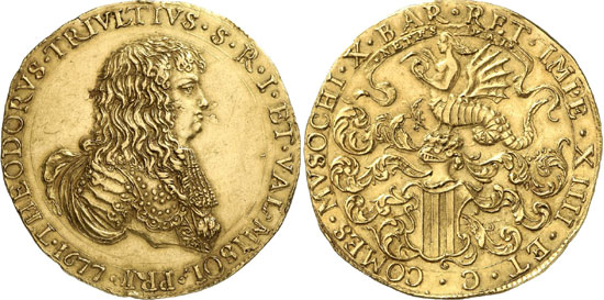 Italy / Retegno. Antonio Teodoro Trivulzio, 1676-1678. 10 zecchini 1677, Retegno. Fb. 986. Very rare. Extremely fine. Estimate: 100,000 euros. Hammer price: 115,000 euros.