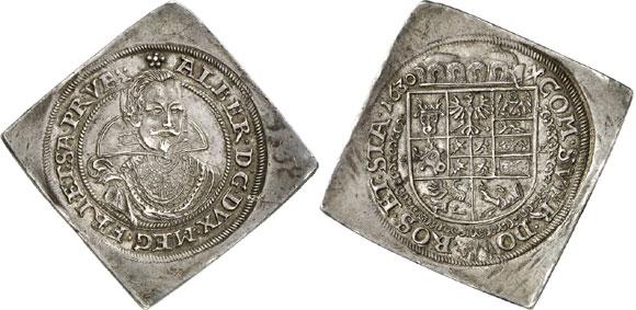 Germany / Albrecht von Wallenstein, 1623-1634. 1/2 reichsthalerklippe 1630, Sagan. Of utmost rarity. Extremely fine. Estimate: 20,000 euros. Hammer price: 130,000 euros.