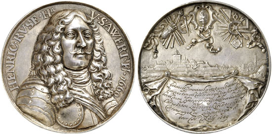 No. 5861: GERMANY. Hamburg. Hollow cast silver medal 1660 on the Dutch fortification engineer Henrik Ruse, awarded by Christian Louis, Duke of Brunswick-Lüneburg for his work on the citadel of Harburg. KPK 894. Extremely rare. Original cast, extremely fine. Estimate: 25,000 euros