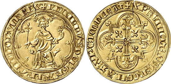 No. 70: FRANCE. Philip IV the Fair, 1285-1314. Masse d'or n. d. (1296). Friedberg 254. Very rare. Die crack, about extremely fine. Estimate: 10,000 euros