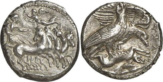 No. 7050: ACRAGAS (Sicily). Tetradrachm, 411. Franke / Hirmer pl. 61. 178. Very rare. Extremely fine. Estimate: 25,000 euros