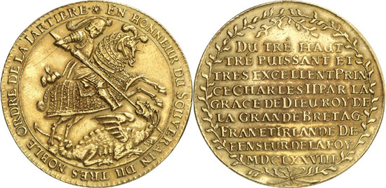 1114 Germany / Saxony. John George II, 1656-1680. 12 ducats 1678, Dresden, on the conferral of the Order of the Garter and the feast day of the Royal Order of St. George. Clauß-Kahnt – (see 528, 10 ducat piece there). Extremely rare. About extremely fine. Estimate: 10,000 euros. Hammer price: 26,000 euros.