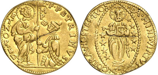 2818 Malta / Sovereign Order. Pierino del Ponte, 1534-1535. Zecchino n. d., Birgu or Fort St. Angelo. Fb. 3. 6 specimens are known to exist. Traces of mounting, very fine. Estimate: 3,000 euros. Hammer price: 16,000 euros.