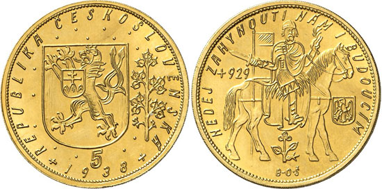 569 Czechoslovakia. 5 ducats 1938, Kremnica. Fb. 5. Mintage only 56 specimens. About mint state. Estimate: 10,000 euros. Hammer price: 110,000 euros.