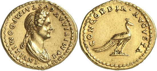 7491 Roman Imperial Times / Domitia, wife of Domitian. Aureus, 82/3 or later. BMC -. Extremely rare. Extremely fine. Estimate: 30,000 euros. Hammer price: 65,000 euros.