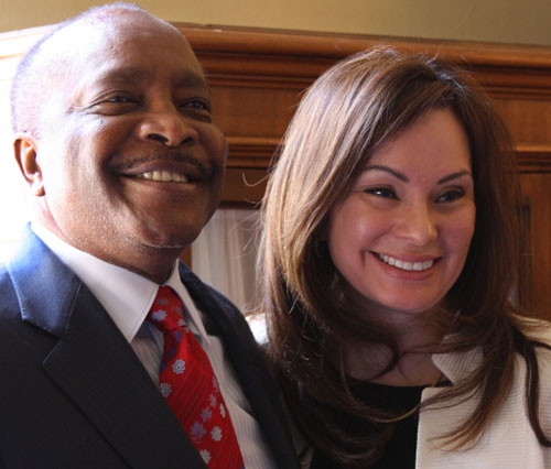 Baseball Hall of Fame member Joe Morgan and Treasurer of the United States Rosie Rios. United States Mint photo by Sharon McPike.