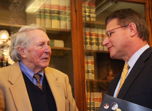 Baseball Hall of Fame member Brooks Robinson and United States Mint Deputy Director Dick Peterson. United States Mint photo by Sharon McPike.