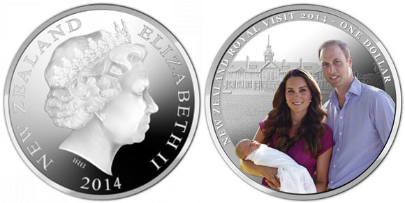 2014 New Zealand Royal Visit Silver Coin