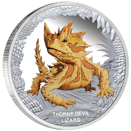 Thorny Devil Lizard Silver Coin