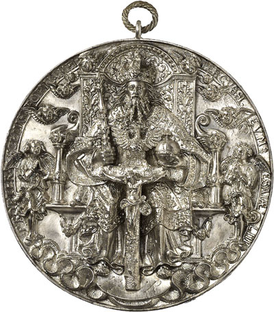5936 Baums Collection. Saxony. Trinity medal. Cast silver medal 1544 by Hans Reinhart the Elder. Habich XX. 1. 1962. Extremely rare. Extremely fine. Estimate: 40,000 euros. Hammer price: 46,000 euros.