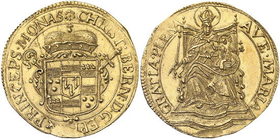 Lot 1729: MÜNSTER. Christoph Bernhard von Galen (1650-1678). 2 ducats n. d. (1661-1678), Münster. Fb. 1768. Extremely rare. Extremely fine. Estimate: 10,000,- euros