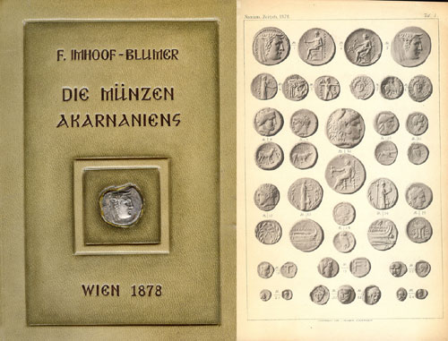 F. Imhoof-Blumer, Die Münzen Akarnaniens. Wien 1878. Original offprint of the article appearing in NZ X (1878). 8vo, full tan leather, dark brown letters, with a genuine AR stater depicting the head of Achelous embedded in the front cover. 186 pages, 3 plates. Newly bound, still in binder's wrap. Fine. Estimate: 100 CHF.