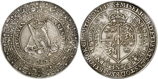 Lot 298: SWEDEN. John III (1568-1592). 4 daler n. d. (1587), Stockholm. Dav. 570. Extremely rare. About very fine. Estimate: 10,000,- euros