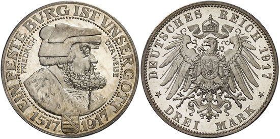 Lot 4705: COINS OF THE GERMAN EMPIRE. Saxony. Frederick August III (1904-1918). 3 mark 1917 E. On the 400th Jubilee of the Reformation. J. 141. Very rare. Proof. Estimate: 60,000,- euros