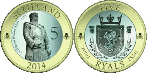 Scotland 5 Ryals Coin