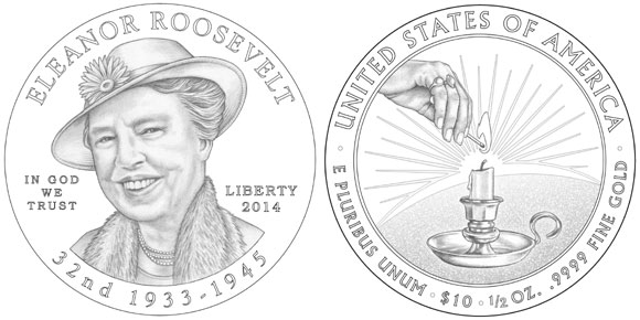 Eleanor Roosevelt First Spouse Gold Coin