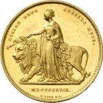 1839 British Una and the Lion £5 Gold Coin
