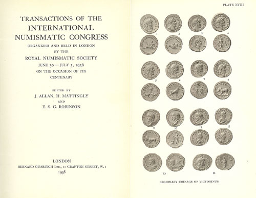 J. Allan, H. Mattingly and E. S. G. Robinson (eds.), Transactions of the International Numismatic Congress organized and held in London by the Royal Numismatic Society, June 30 - July 3, 1936 on the Occasion of Its Centenary. London 1938. 8vo (17x23cm), green linen with gilt spine letters; 490 pages, 27 plates. Spine ends worn. Very Good. Estimate: 30 CHF.