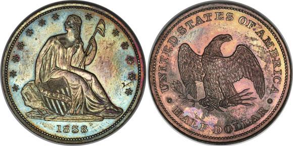 1838 Plain Edge Seated Liberty Half dollar Pattern